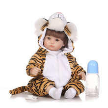 40cm 18 Inch NPK Dolls Reborn Silicone Babies Sleeping Little Tiger Lifelike Simulated Company Lifelike Baby Reborn Doll Kids