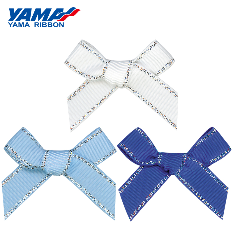 YAMA Wide 37mm±3mm High 33mm±3mm Hand-Tied Bow 200pcs/bag Grosgrain Gold Silver Edge Petersham Plaid Ribbon Handmade Gifts Baby