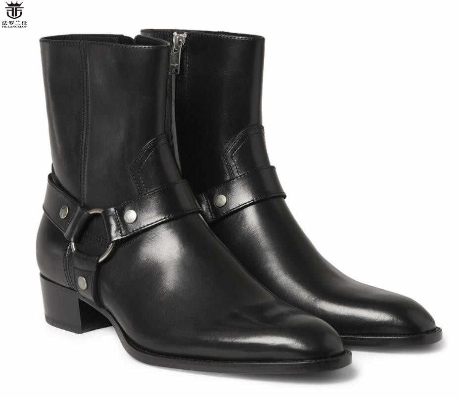 539be43e25ed5 LANCELOT European style chelsea boots pointed toe cow leather boots men  riding boots