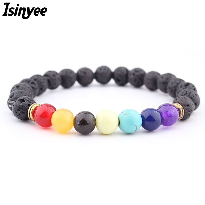 2018 Fashion 7 Chakra Healing Bracelets For Man Men Women 8MM Black Lava Natural Stone Prayer Beads Bracelet Pulseira Feminina