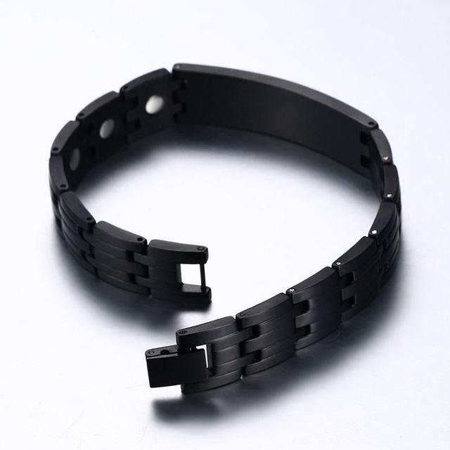 Free Engraving Medical Emergency ID Health Magnetic Power Alert Bracelet