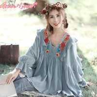 2018 Spring Women Shirt Japanese Mori Girl Loose V-neck Lantern Sleeve Ruffled Floral Embroidery Cotton Linen Blouse Top Female