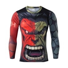 High quality digital printing 3 d green giant man news leisure tight long-sleeved T-shirt breathable quick dry T-shirt