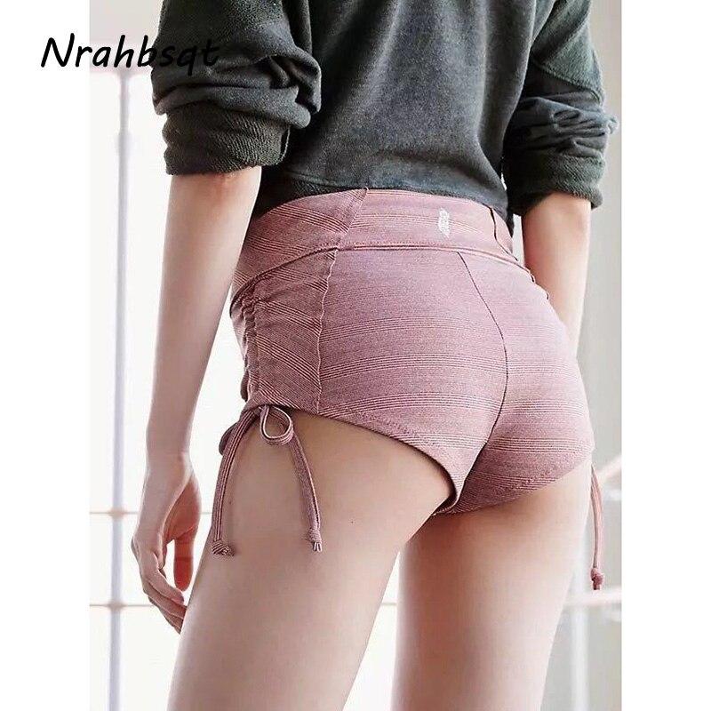 NRAHBSQT Side Drawstring Yoga Shorts Women Slim Ladies Short Pants Sports Solid Color Casual Running Fitness Hot PantsYD014