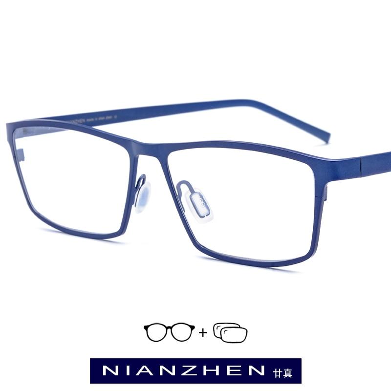 Pure Titanium Eyeglasses Frame Men Square Myopia Optical Frames Prescription Glasses for Men Vintage Spectacles Eyewear