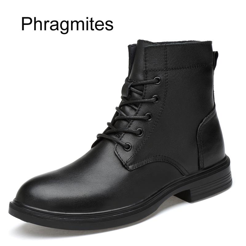 Phragmites plus size 49 women boots winter warm fashion shoes leisure cow leather bota masculina Mid-calf  Moto Boot