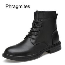 Phragmites plus size 49 women boots winter warm fashion shoes leisure cow leather bota masculina Mid-calf Moto Boot