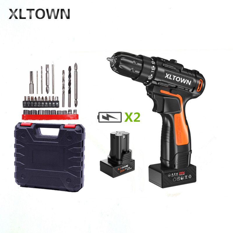 XLTOWN 25v electric screwdriver with 2 battery a box rechargeable lithium battery cordless drill home hand drill power tools xltown 25v hand drill rechargeable lithium battery multi function electric screwdriver with a box household power tools drill