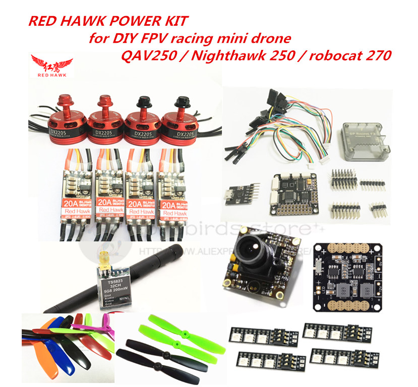 RED HAWK power kit DX2205 KV2300 motor + BL20A mini ESC + 700TVL camera for DIY FPV mini drone QAV250 Nighthawk 250 Robocat  270 60w style loft industrial vintage wall lamp fixtures home lighting edison wall sconce arandela lamparas de pared