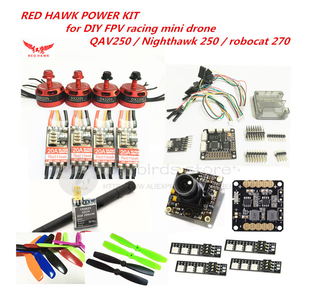RED HAWK power kit DX2205 KV2300 motor + BL20A mini ESC + 700TVL camera for DIY FPV mini drone QAV250 Nighthawk 250 Robocat  270