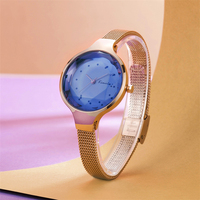 KIMIO Women Bracelet Watch Fashion Blue Dial Watches Ultra Slim Rose Gold Mesh Steel Strap Ladies