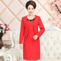 שמלת סתיו נשים החורף חדש משלוח חינם באיכות גבוהה חתונה אמא אמצע גיל סט חליפת בגדי נשים בתוספת גודל אדום