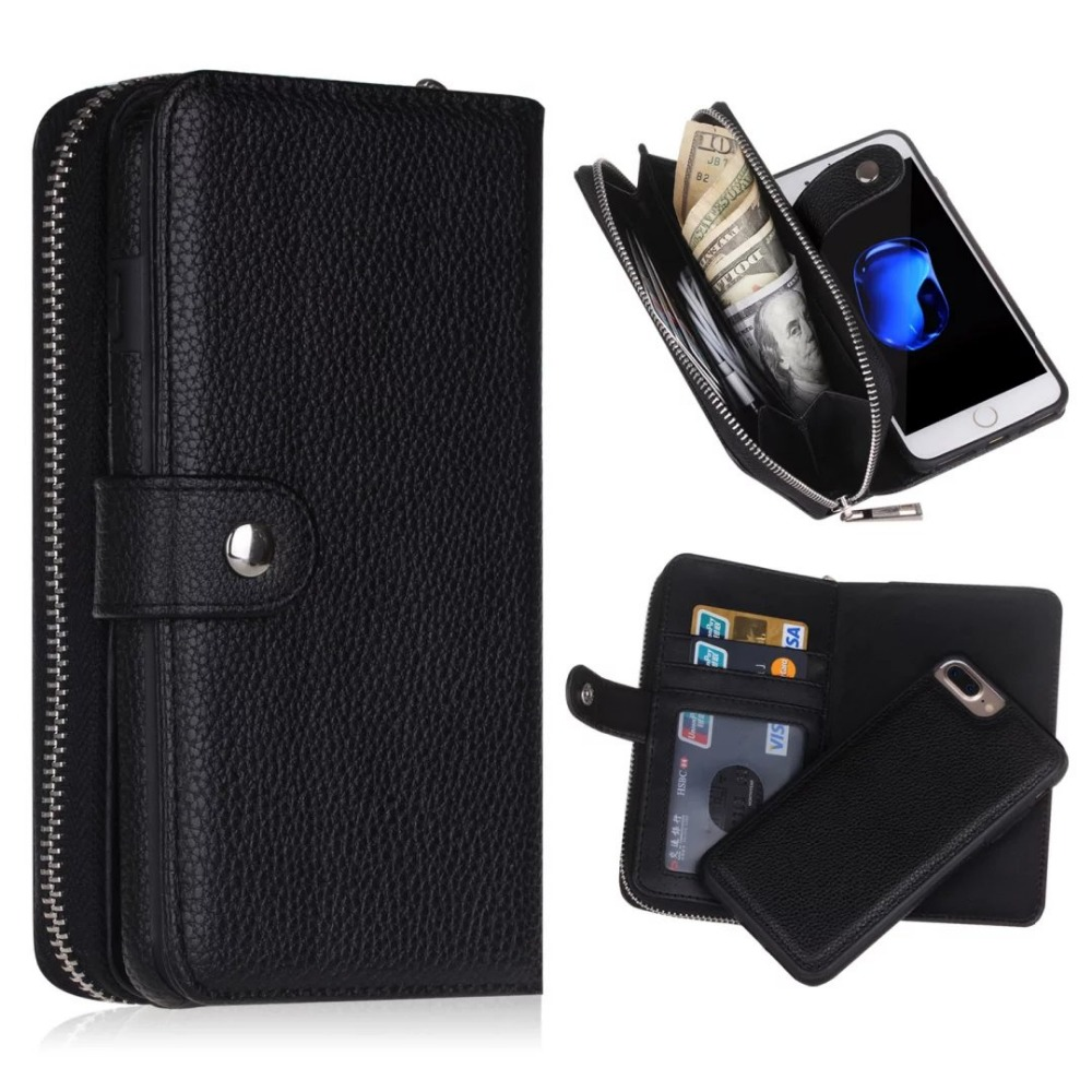 BRG Zipper Cases For Iphone 7 7 Plus 8 8 Plus Wallet PU Leather 2 in 1 Magnetic Multifunction Case For Iphone se 5s 6 6s plus