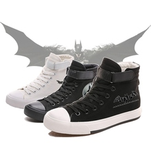 DC Superhero Batman The Dark Knight Cool Cartoon Picture Printing High Top Canvas Uppers Sneakers College Fashion Shoe Men