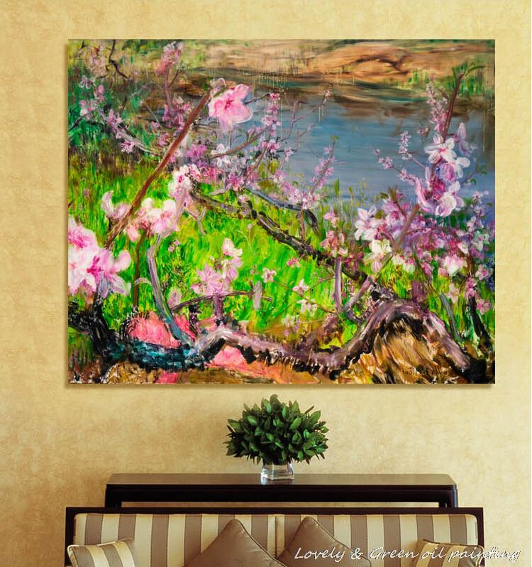 Hand Made Pink Wintersweet Famous Oil Paintings Canvas