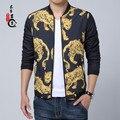 2016 Chaquetas Para Hombre de la Marca de Lujo de Oro Estampado de Leopardo Chaquetas Blouson Veste Homme Marca Luxe Club Traje Ocasional del Tigre de Moda de China