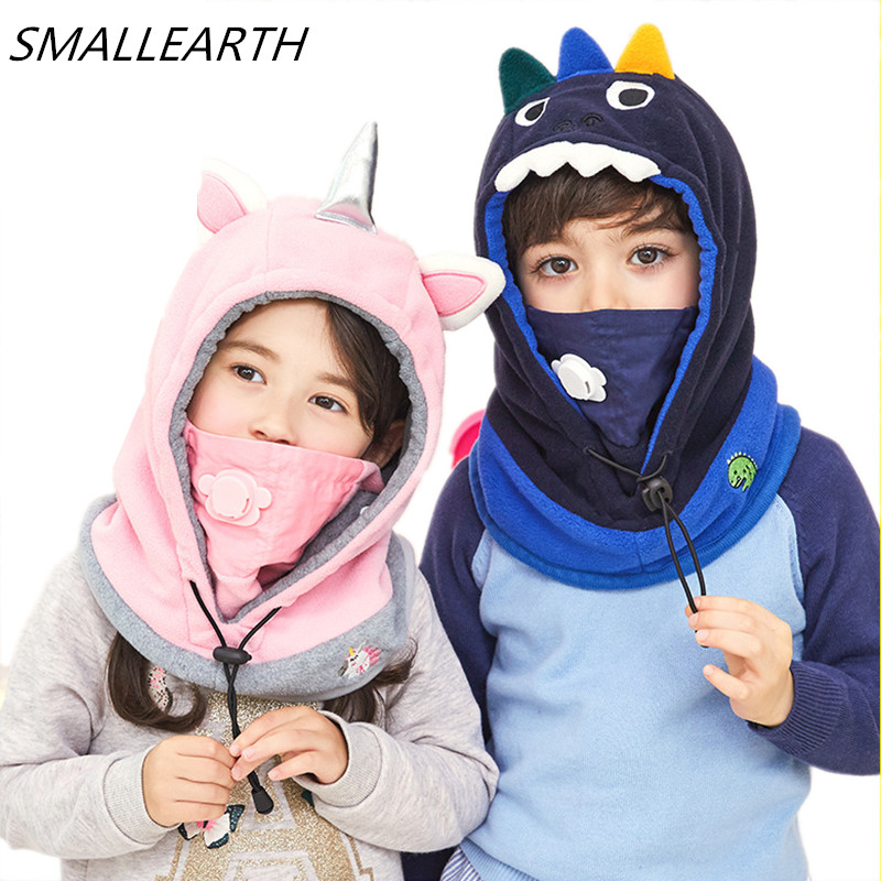 High Quality Children Hat Cartoon Hat Scarf Sets For Baby Winter Boy Girl Embroidery Warm Masked Hood Hats Outdoor Windproof Cap