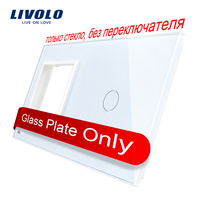 Livolo Luxury White Pearl Crystal Glass 151mm 80mm EU Standard 1 Frame 1GangGlass Panel VL C7