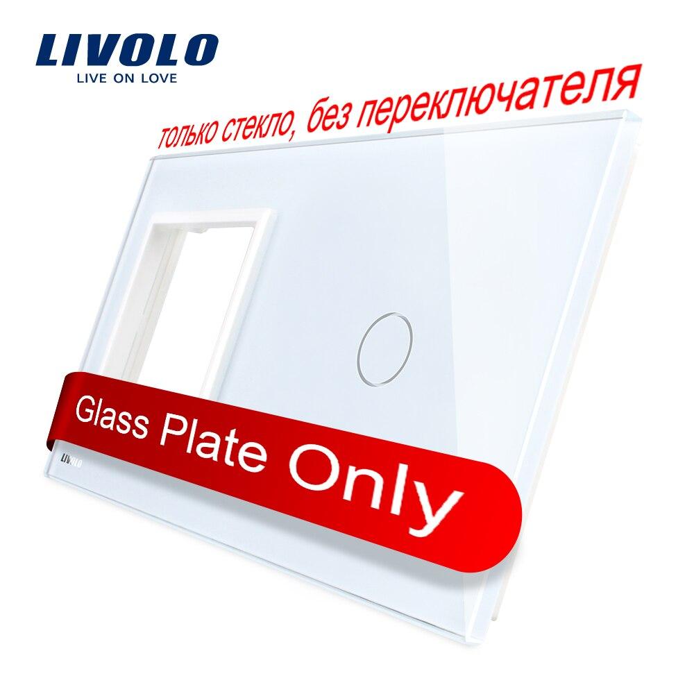 Livolo Luxo Pearl Crystal Glass, 151 milímetros * 80mm, padrão DA UE, painel quadro & 1 GangGlass 1, VL-C7-SR/C1-11 (4 Cores)