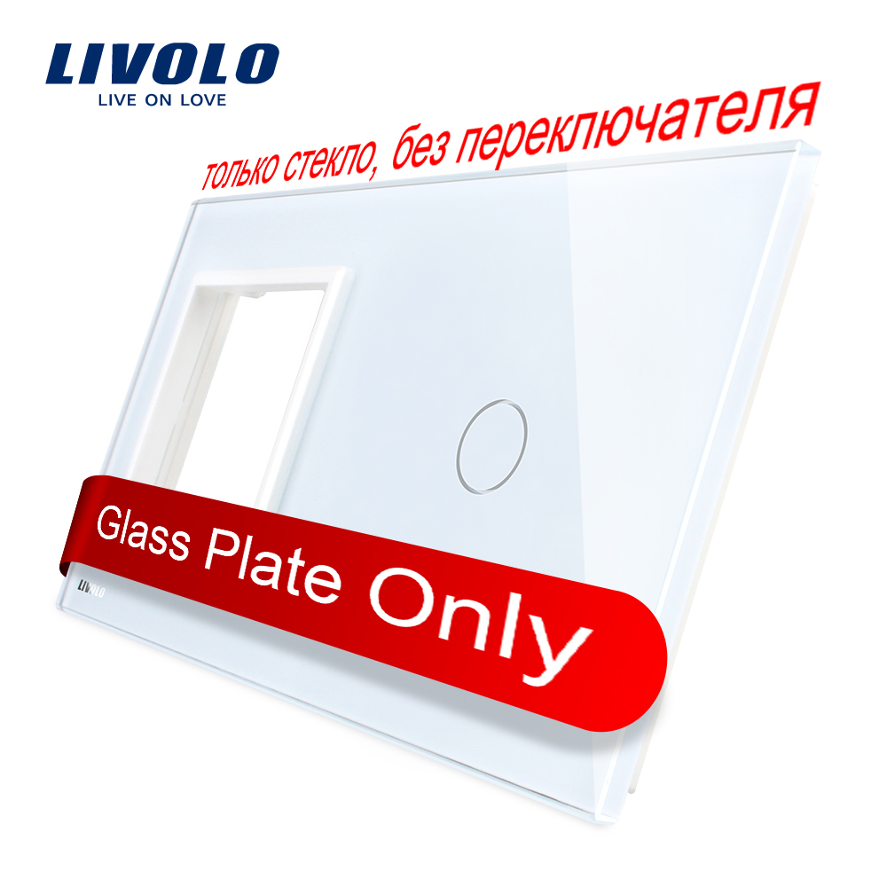 Livolo Luxury  Pearl Crystal Glass, 151mm*80mm, EU Standard, 1 Frame & 1GangGlass Panel, VL-C7-SR/C1-11 (4 Colors)