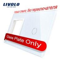 Livolo Luxury White Pearl Crystal Glass 151mm 80mm EU Standard 1 Frame 1GangGlass Panel VL C7