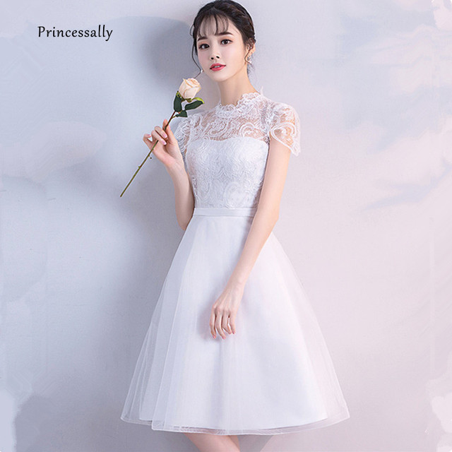 43a5c202fe02 Short Wedding Dress Vintage Lace High Neck Cap Sleeve Reception Bridal Gown  Simple Black Knee Length Bride Gown Vestido De Noiva