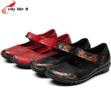 Retro Printing Leather Leisure Shoes Soft Bottom Slip Shoe Flat With Casual Middle Aged Mother Shoes