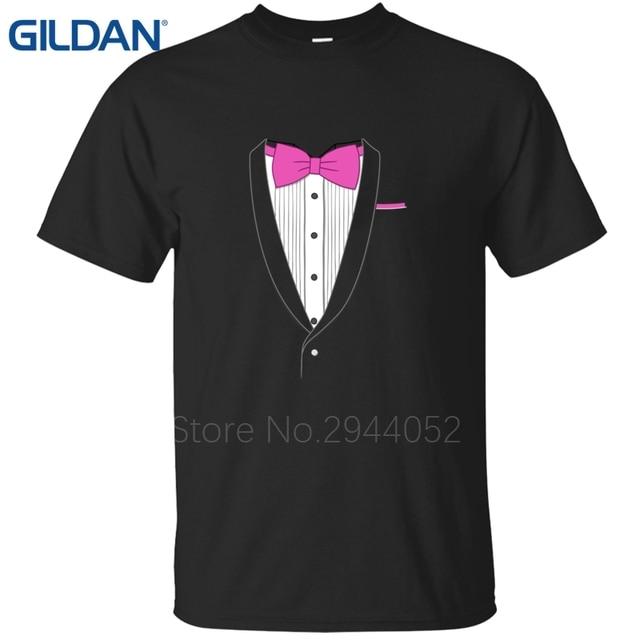 Design black t shirts Fake Tuxedo Pink Tie Hip Hop tee shirts men ...