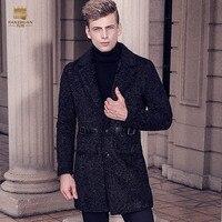 Fanzhuan Ücretsiz Kargo Yeni Erkek erkek 2017 adam moda Kış sıcak ceket suit yaka İnce tek göğüslü uzun TR coat 710174