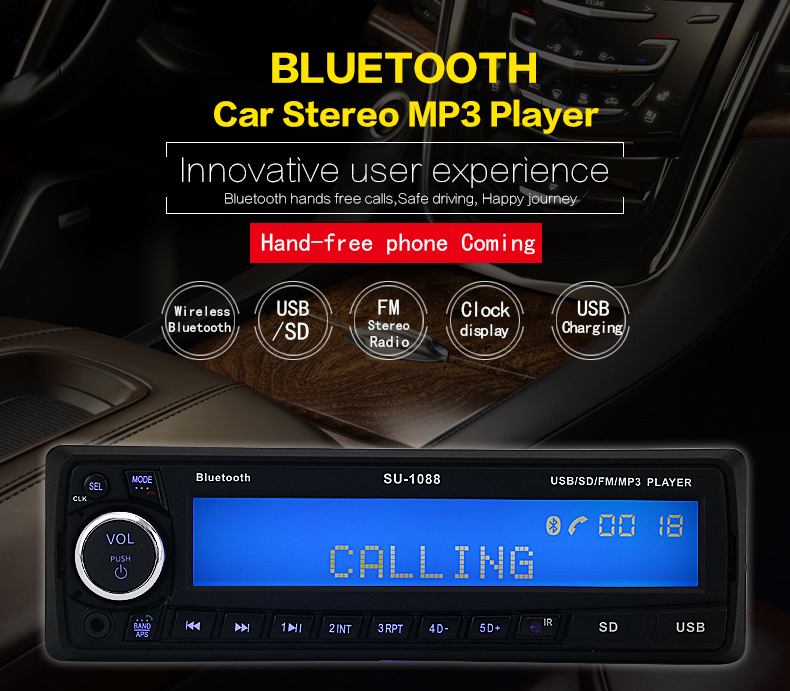 2017 NEW 12V bluetooth Car MP3 Player Car Stereo Radio Audio Player USB/SD/AUX Car Electronics Subwoofer 1 DIN