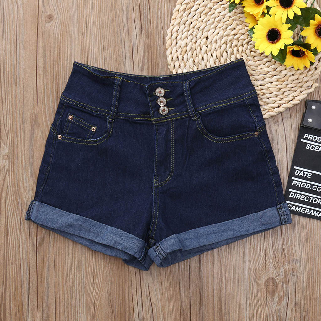 shorts   jeans women Cotton   shorts   jeans high waist Skinny Solid color Washed Solid   Short   Mini Jeans Denim   Shorts   L0429