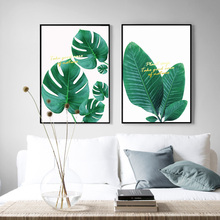 Fresh Green Monstera Banana Leaf Wall Art Canvas Painting Big Plants Nordic Posters And Prints Pictures For Living Room