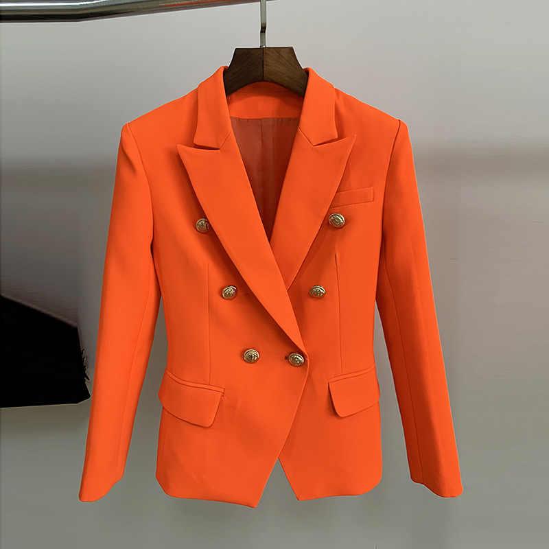 2019 スタイリッシュな Designe ネオンピンク、緑、青 orange 生姜ブレザー女性のダブルブレストライオンボタンスリムフィットブレザージャケット