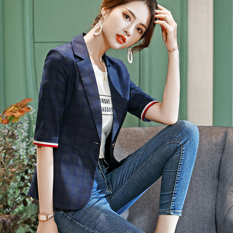 High Quality Spring Plaid Small Suit Jacket 2019 New Korean Fashion Casual Retro Slim White Collar Overalls Women's Jacket