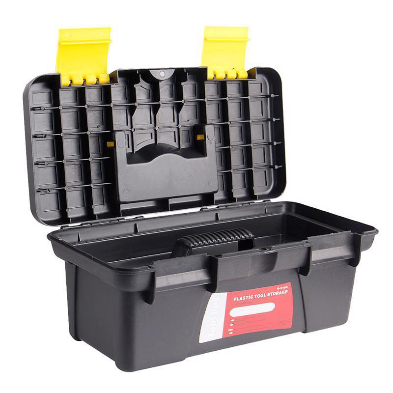 Multifunction Tool Box Storing Box Two-layer Black Plastic PP Box Portable Fittings Box For The Vehicular Red And Yellow Lock
