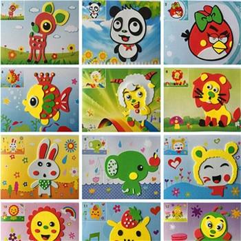 5PCS DIY Foam Sticker Cartoon Animal 3D EVA Foam Sticker Puzzle Early Learning Education Toys for Children