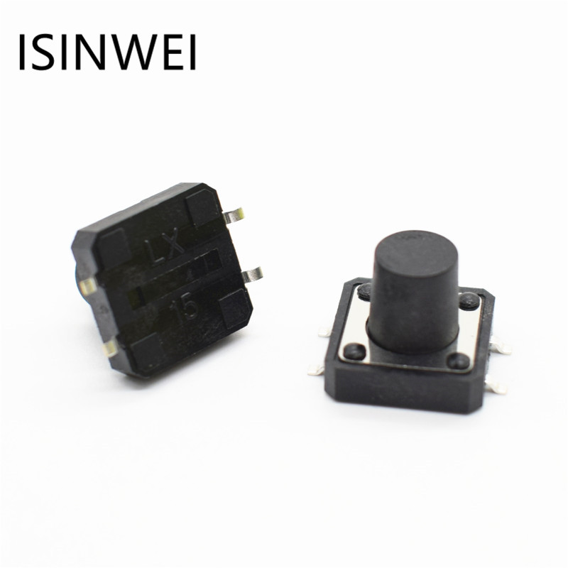 100pcs 12x12x10MM SMD SMT 4PIN Tactile Tact Push Button Micro Switch Direct Plug-in Self-reset DIP Top Copper
