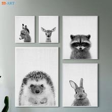 Painting Kids Framed Room-Decor Wall-Art Minimalist Canvas Prints Donkey Nursery Animal
