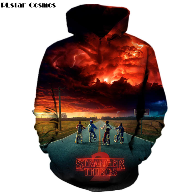 PLstar Cosmos Drop shipping 2018 New Fshion 3d hoodies Mens women Pullovers Sweatshirts TV play stranger things Print Tracksuits