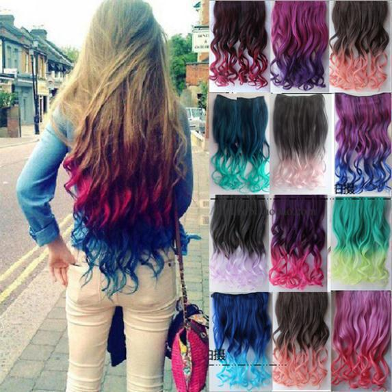 24 Colors Women Two Tone Ombre Hair Highlights Curly Hair Colorful Hair  Extension Clip on Hairpieces Clip in Hair Extensions 00e92dde1