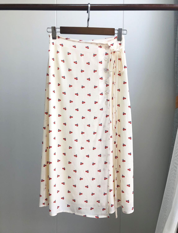 Mujer Jupe Marca Las Mujeres 100 Primavera Cherry Casual Otoño Faldas Viscosa 2019 Nuevo De White Francesa OqqwCIHntx