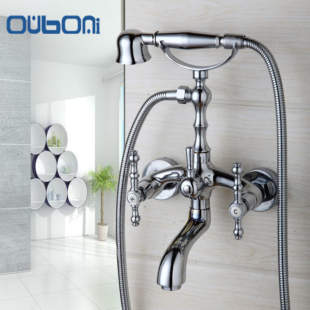 OUBONI Fashion Style Shower Head Chrome Finish Polish Bathroom Basin Sink Faucet Shower Set Faucet Water Mixer Tap Wall Mounted fie new shower faucet set bathroom faucet chrome finish mixer tap handheld shower basin faucet