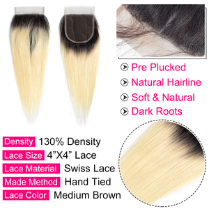 Image 4 - Gabrielle Blonde Hair Lace Closure Brazilian Straight Human Hair Color 613 T1b/613 Closure 100% Remy Hair Extensions 8 22 inch