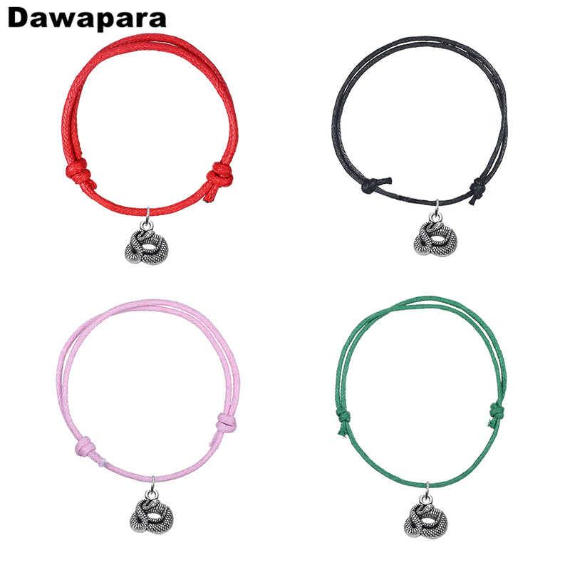 Dawapara עתיק כסף מצופה נחש בציר תליון צמיד צמיד אופנה בעבודת יד מתכוונן שרשרת קסם תכשיטי מתנה
