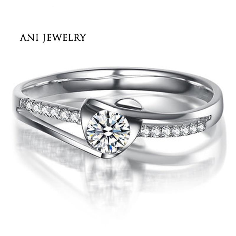 ANI 18 K or blanc (AU750) bagues de mariage 0.4 CT certifié I-J/SI diamant rond taille Anelli Donna coeur Femme bague de bijoux fins
