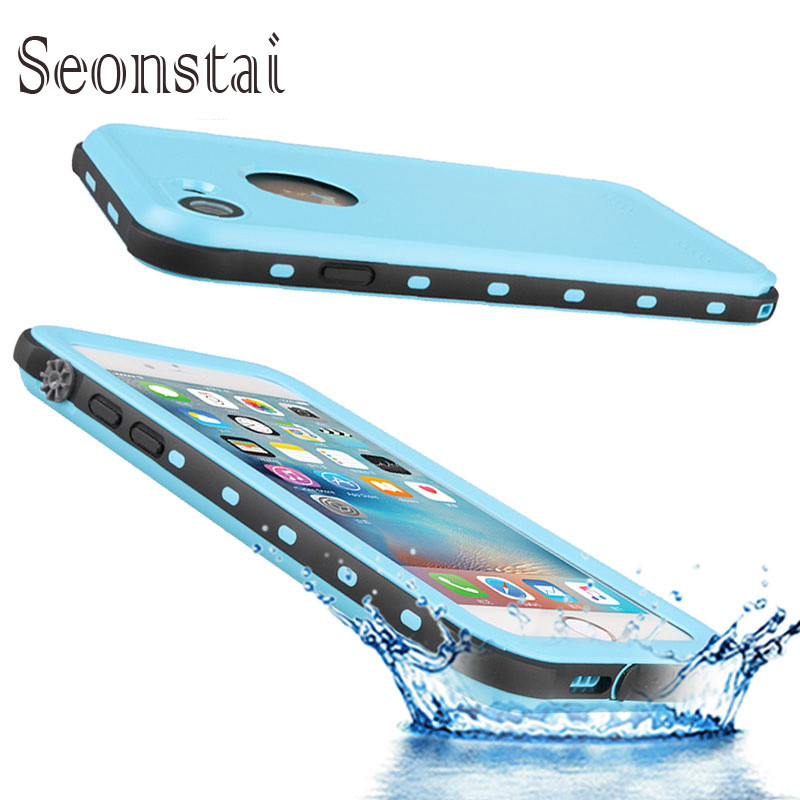 For iphone 7 Waterproof Case IP68 Life Water Proof Protection Cover for Iphone7 7plus Case Silicone Bag with Fingerprint