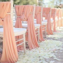 SMOPOR Quality Chiffon Chiavari Chair Sashes Cover Hoods for Weddings Events Banquet Party Decoration Fancy Chiffon Sash Tie(China)