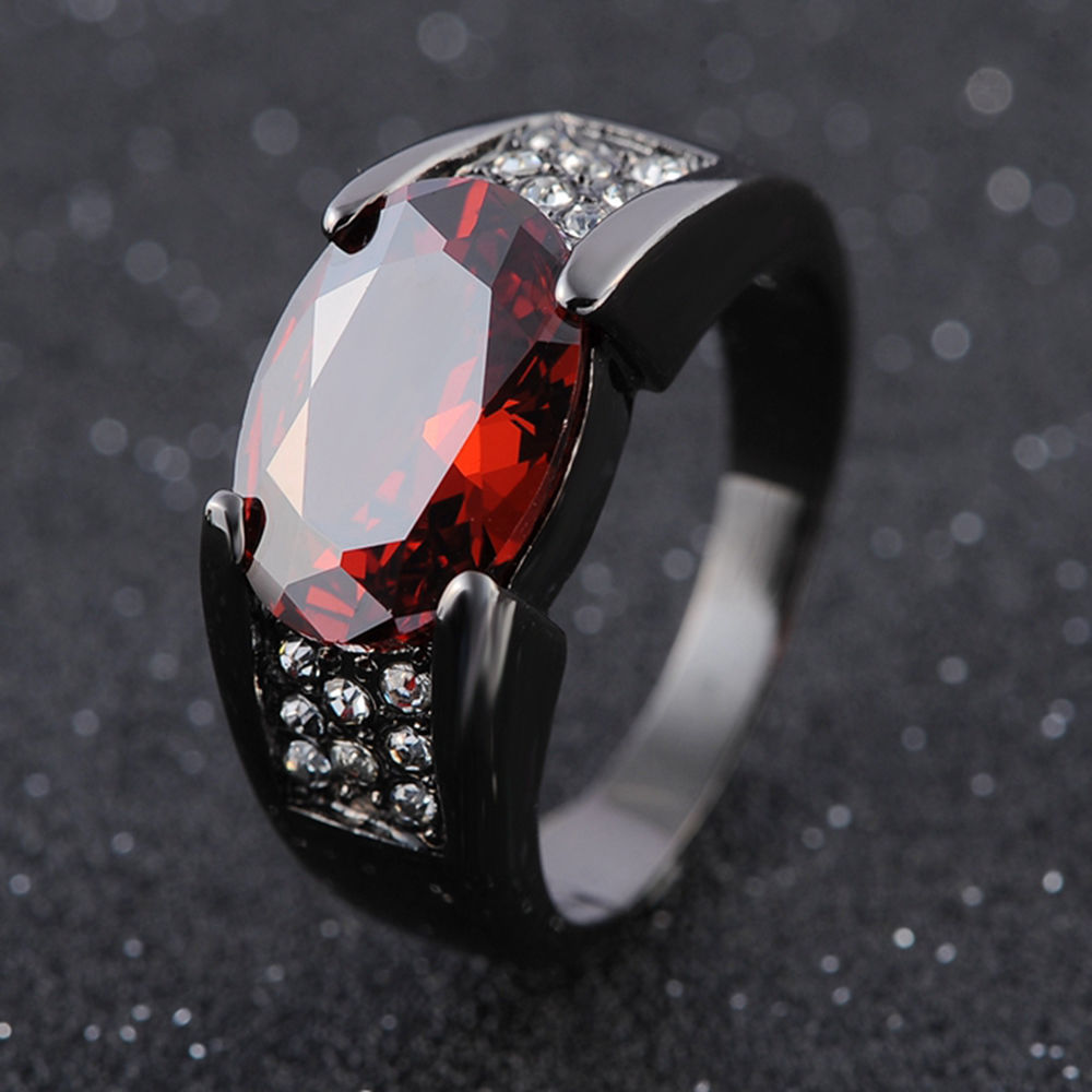 Hip Hop Black Gold Ruby Obsidian Ring Party Wedding Sapphire Pure