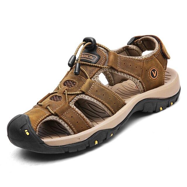 Classic Men Soft Sandals Comfortable Men Summer Shoes Leather Sandals Big Size Soft Sandals Men Roman Comfortable Men Summer 2