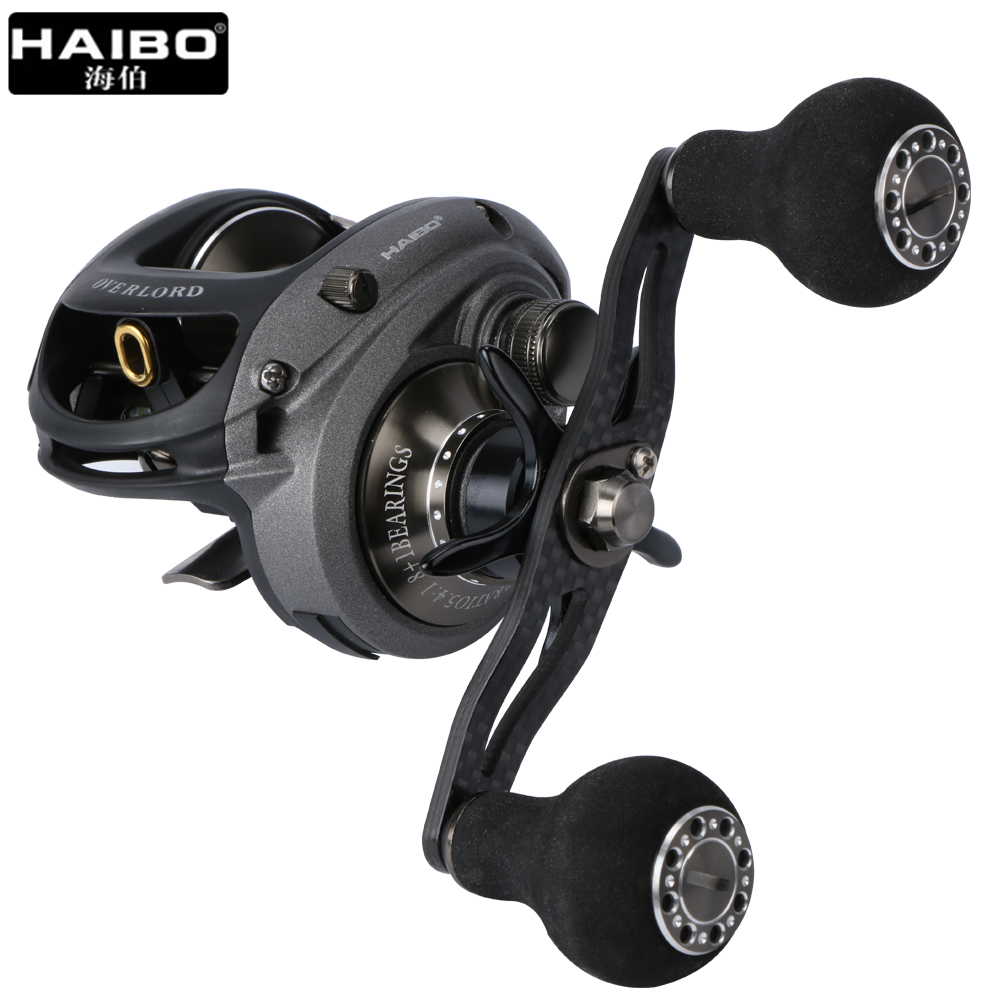 Haibo OVERLORD Super Light Carbon Fiber Handle Baitcasting Fishing Reel 5.4:1 8BB+1RB Saltwater/Freshwater Magnetic Brake System nunatak original 2017 baitcasting fishing reel t3 mx 1016sh 5 0kg 6 1bb 7 1 1 right hand casting fishing reels saltwater wheel